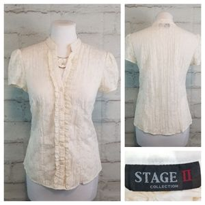 Stage II S Off-White Cap Sleeve Ruffled Blouse